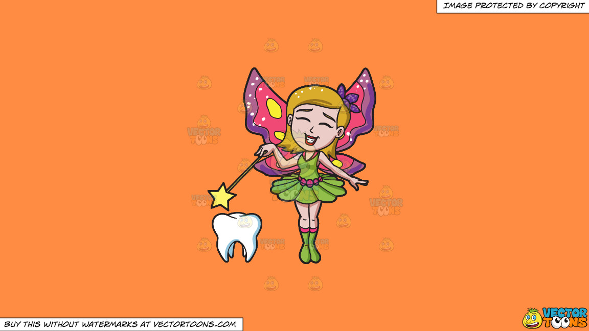 A Happy Fairy Casting Magic On A Tooth On A Solid Mango Orange Ff8c42 Background thumbnail