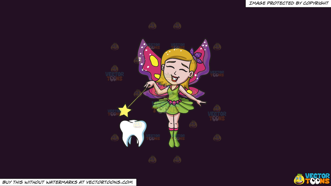 A Happy Fairy Casting Magic On A Tooth On A Solid Purple Rasin 241023 Background thumbnail