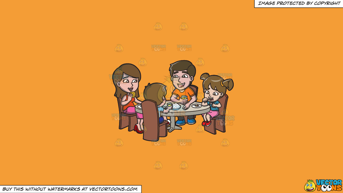 A Happy Family Having Lunch Together On A Solid Deep Saffron Gold F49d37 Background thumbnail