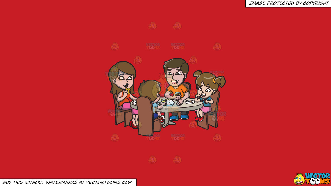 A Happy Family Having Lunch Together On A Solid Fire Engine Red C81d25 Background thumbnail