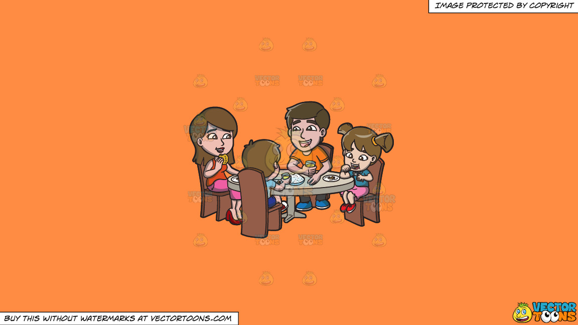 A Happy Family Having Lunch Together On A Solid Mango Orange Ff8c42 Background thumbnail