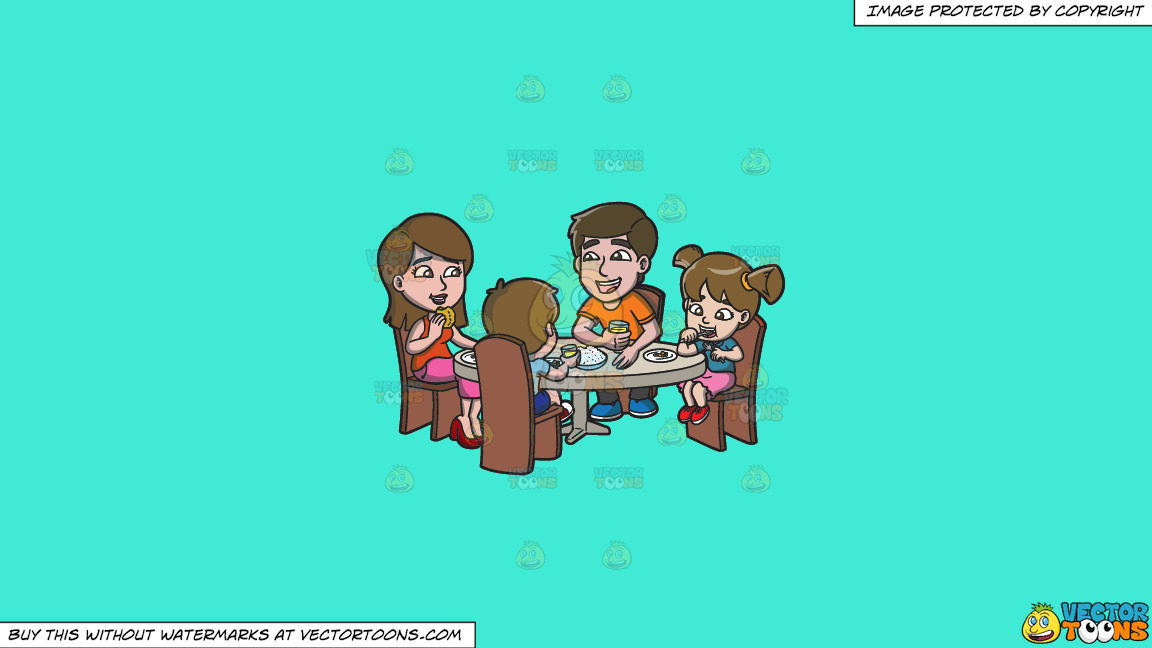 A Happy Family Having Lunch Together On A Solid Turquiose 41ead4 Background thumbnail