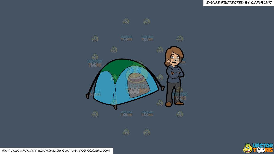 A Happy Female Camper On A Solid Metal Grey 465362 Background thumbnail