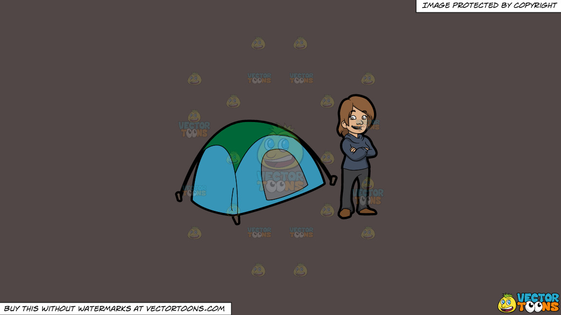 A Happy Female Camper On A Solid Quartz 504746 Background thumbnail