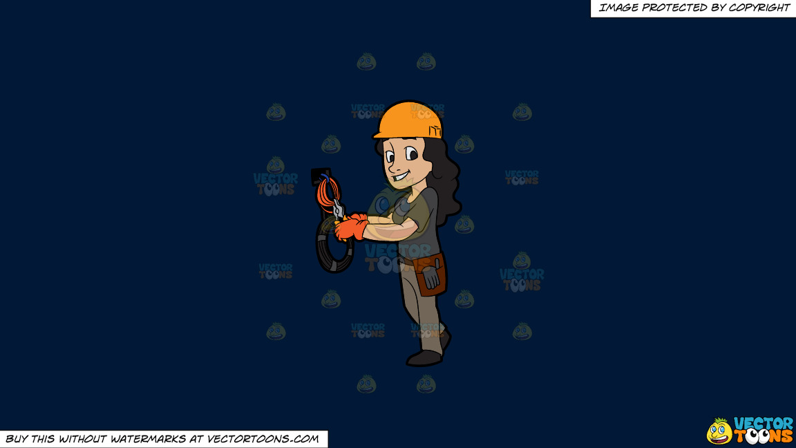 A Happy Female Electrician Cutting Some Cables On A Solid Dark Blue 011936 Background thumbnail