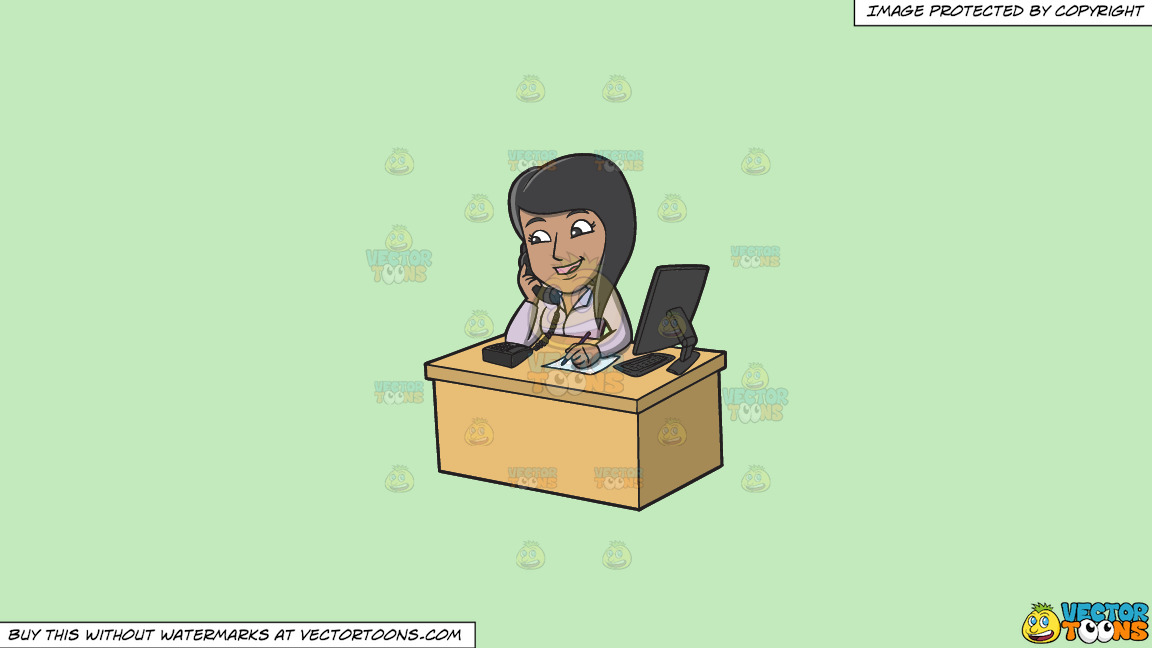 A Happy Female Employee Taking Calls On A Solid Tea Green C2eabd Background thumbnail
