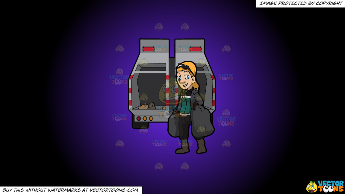 A Happy Female Sanitation Worker Collecting Trash On A Purple And Black Gradient Background thumbnail