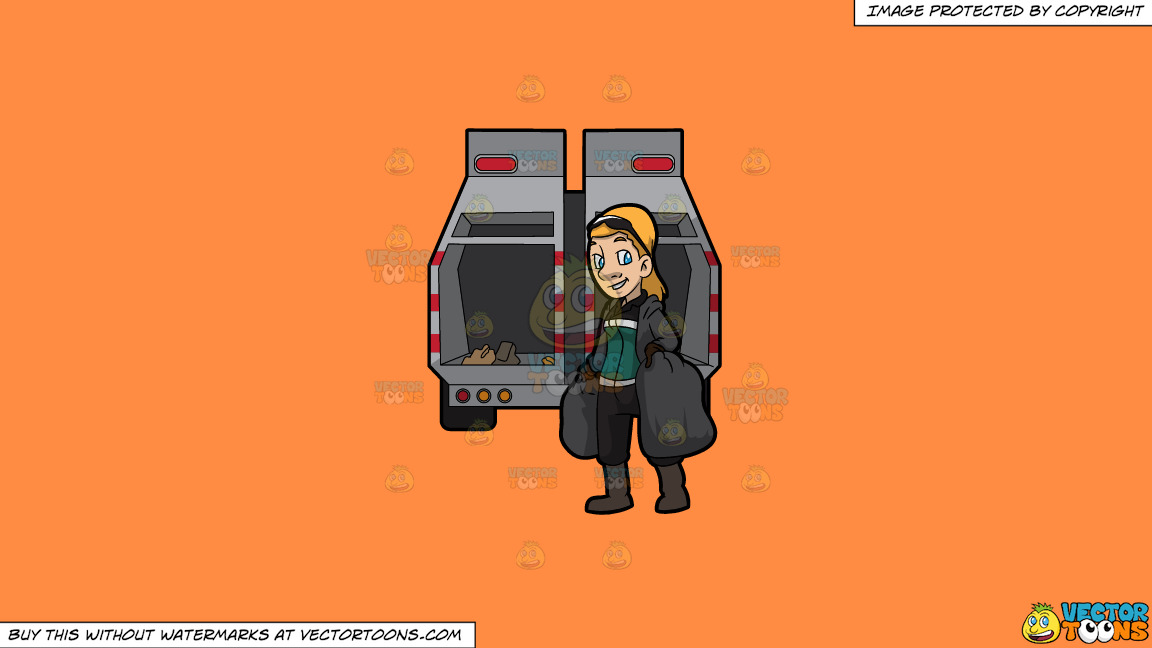 A Happy Female Sanitation Worker Collecting Trash On A Solid Mango Orange Ff8c42 Background thumbnail