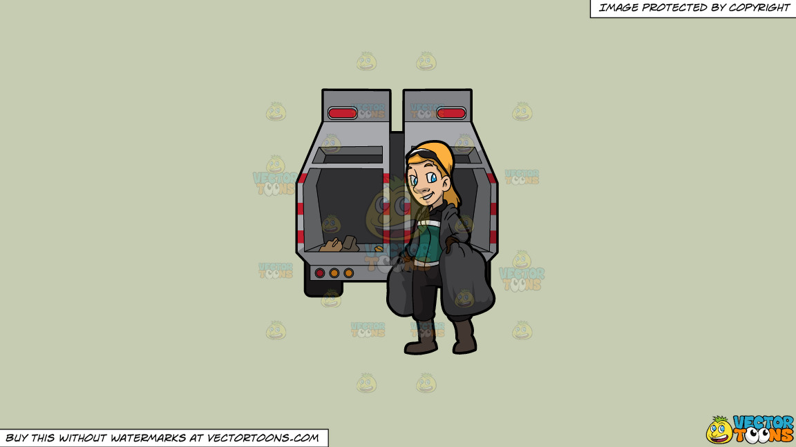 A Happy Female Sanitation Worker Collecting Trash On A Solid Pale Silver C6ccb2 Background thumbnail