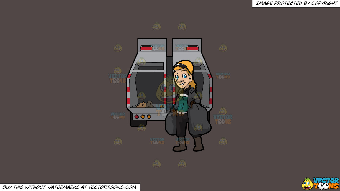 A Happy Female Sanitation Worker Collecting Trash On A Solid Quartz 504746 Background thumbnail