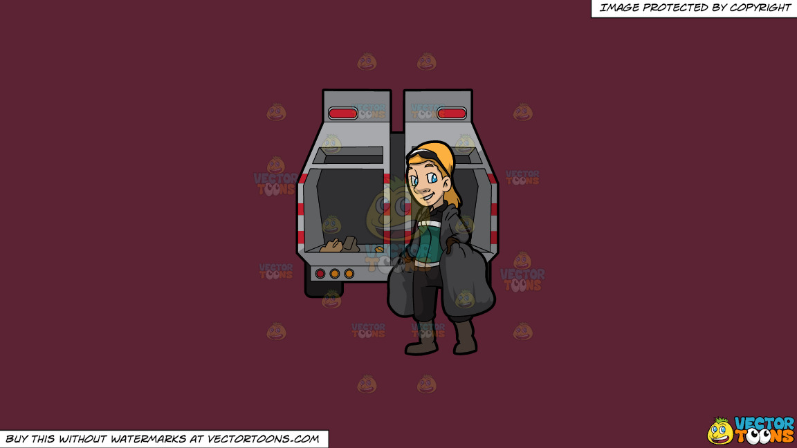 A Happy Female Sanitation Worker Collecting Trash On A Solid Red Wine 5b2333 Background thumbnail