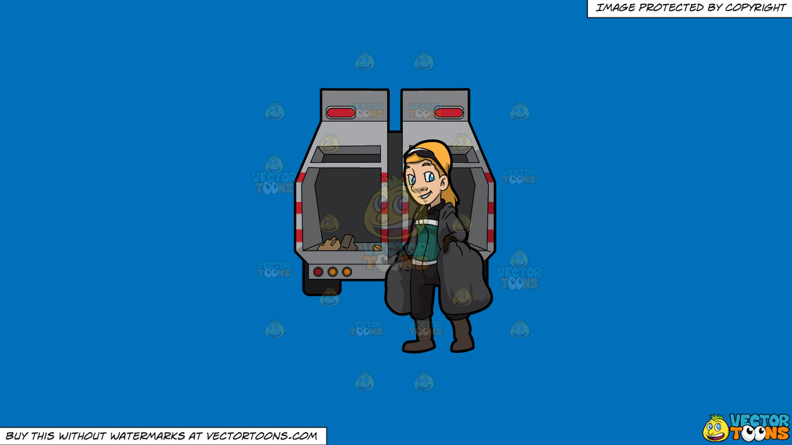 A Happy Female Sanitation Worker Collecting Trash On A Solid Spanish Blue 016fb9 Background thumbnail