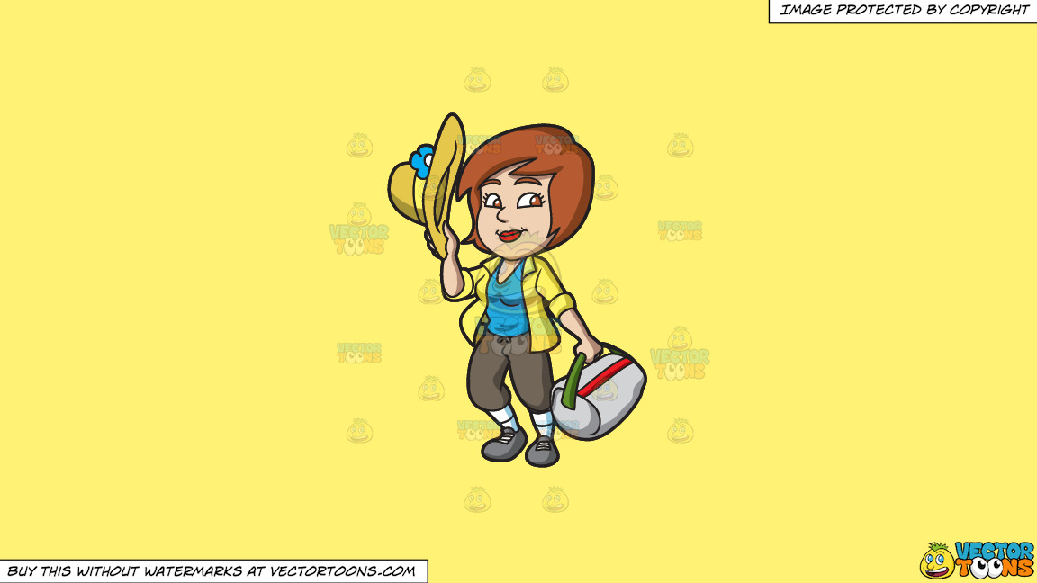 A Happy Female Tourist On A Solid Sunny Yellow Fff275 Background thumbnail