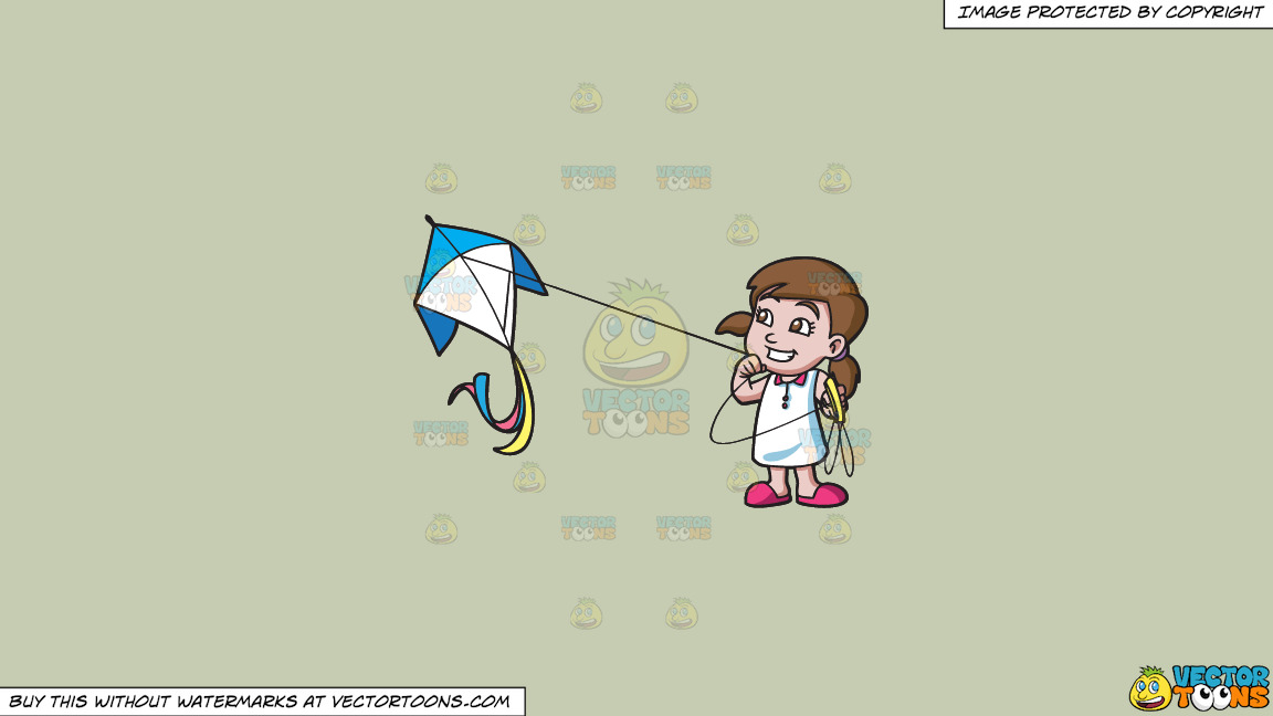 A Happy Girl Flying A Kite On A Solid Pale Silver C6ccb2 Background thumbnail