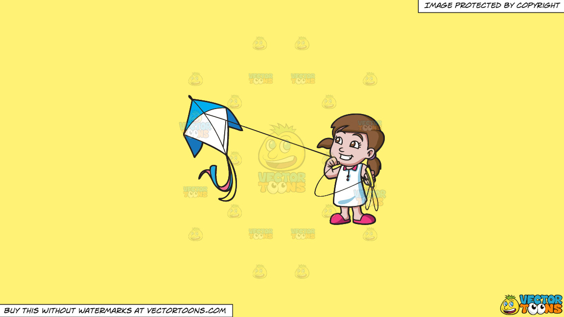A Happy Girl Flying A Kite On A Solid Sunny Yellow Fff275 Background thumbnail