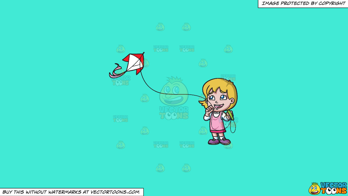 A Happy Girl Looking At Her New Kite Flying In The Air On A Solid Turquiose 41ead4 Background thumbnail