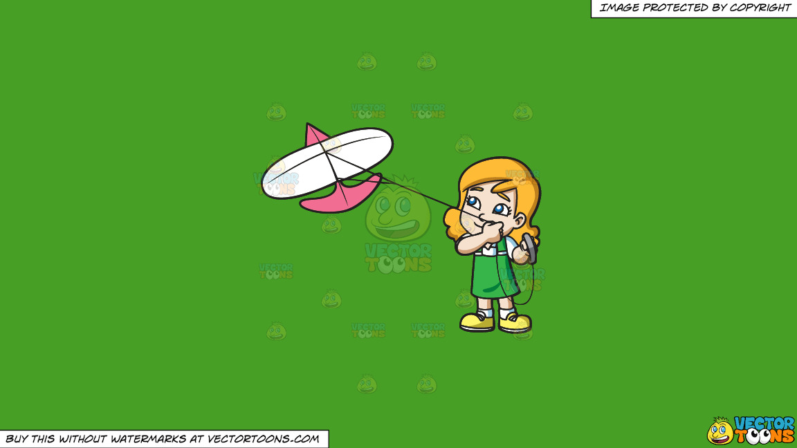 A Happy Girl Looking At The Kite She Is Flying On A Solid Kelly Green 47a025 Background thumbnail