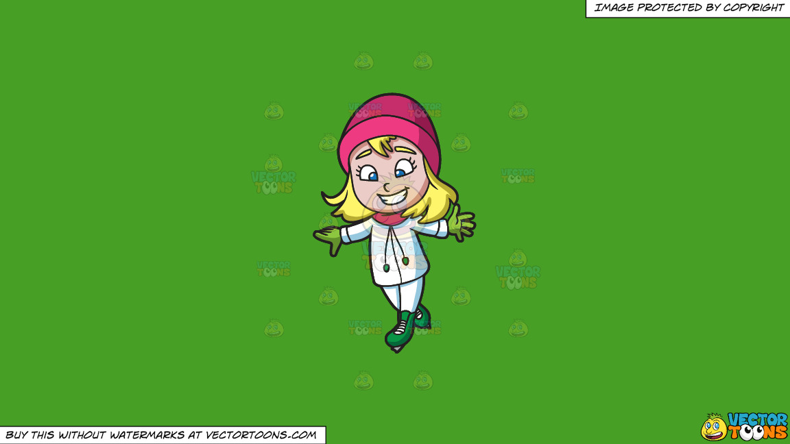 A Happy Girl Skating On Ice On A Solid Kelly Green 47a025 Background thumbnail