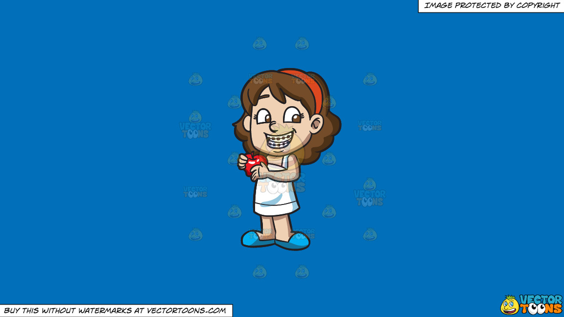 A Happy Girl With Braces And An Apple On A Solid Spanish Blue 016fb9 Background thumbnail