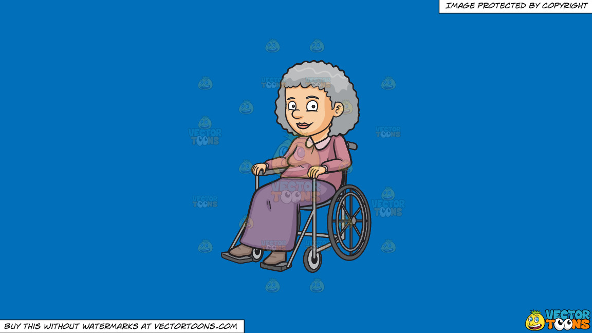 A Happy Grandmother Sitting In A Wheelchair On A Solid Spanish Blue 016fb9 Background thumbnail
