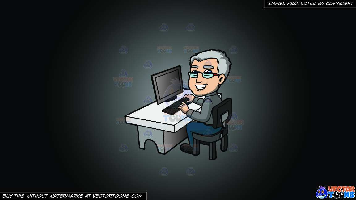 A Happy Grey Haired Man In The Office On A Grey And Black Gradient Background thumbnail
