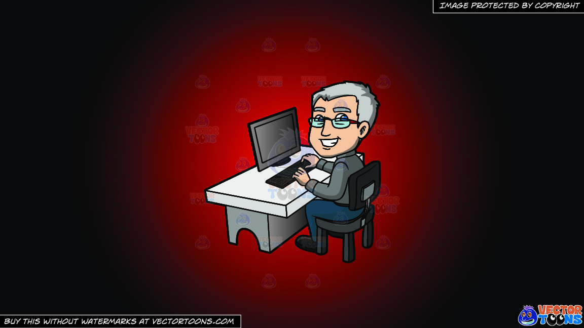 A Happy Grey Haired Man In The Office On A Red And Black Gradient Background thumbnail