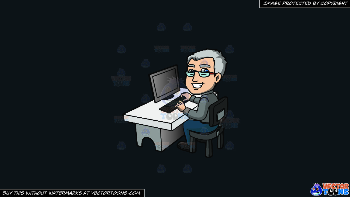 A Happy Grey Haired Man In The Office On A Solid Off Black 0f1a20 Background thumbnail