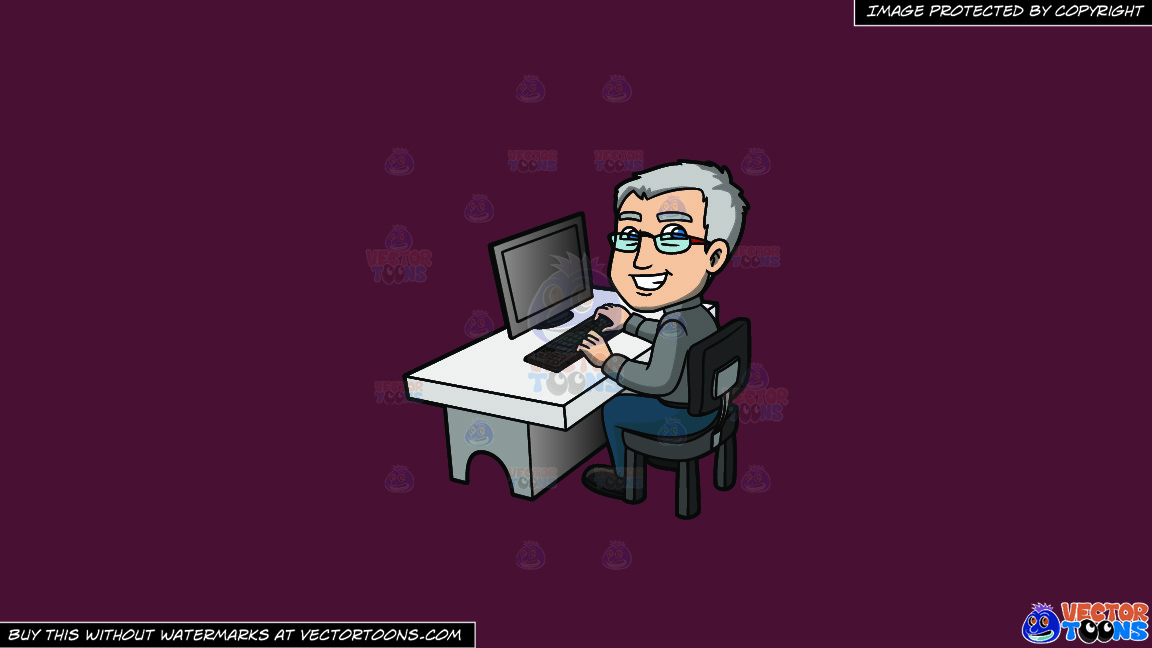 A Happy Grey Haired Man In The Office On A Solid Red Wine 5b2333 Background thumbnail