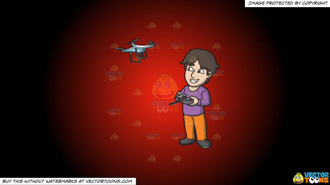 A Happy Guy Flying A Drone Via Remote On A Red And Black Gradient Background thumbnail