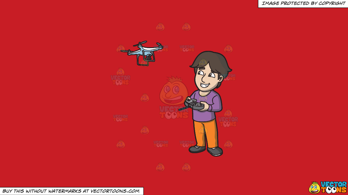 A Happy Guy Flying A Drone Via Remote On A Solid Fire Engine Red C81d25 Background thumbnail