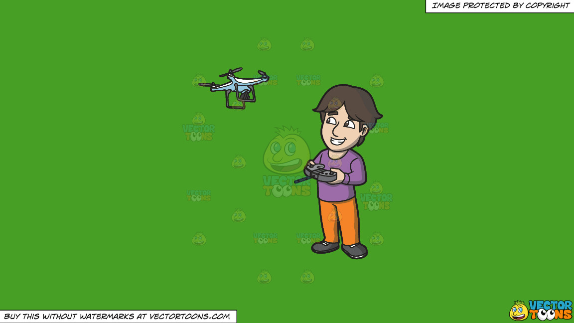 A Happy Guy Flying A Drone Via Remote On A Solid Kelly Green 47a025 Background thumbnail