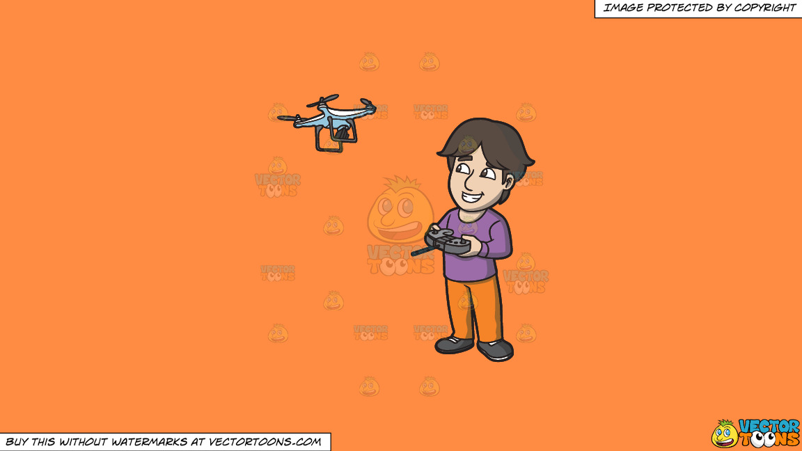 A Happy Guy Flying A Drone Via Remote On A Solid Mango Orange Ff8c42 Background thumbnail
