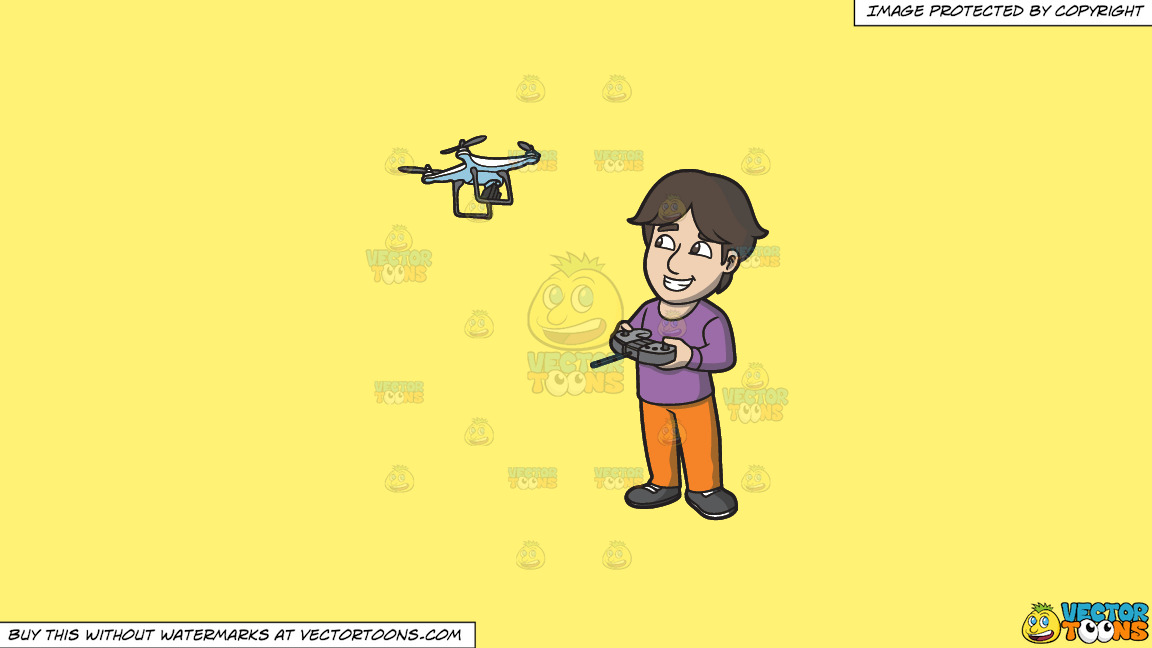 A Happy Guy Flying A Drone Via Remote On A Solid Sunny Yellow Fff275 Background thumbnail