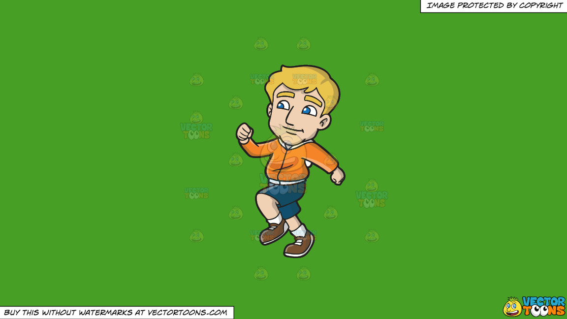 A Happy Guy Going Out For A Run On A Solid Kelly Green 47a025 Background thumbnail