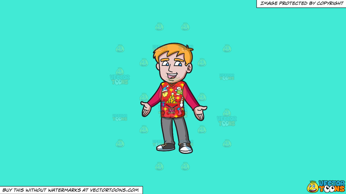 A Happy Guy In An Ugly Christmas Sweater On A Solid Turquiose 41ead4 Background thumbnail