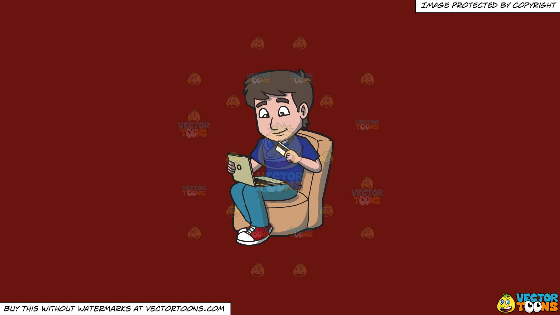 A Happy Guy Shopping Online Using His Laptop And Credit Card On A Solid Maroon 69140e Background thumbnail