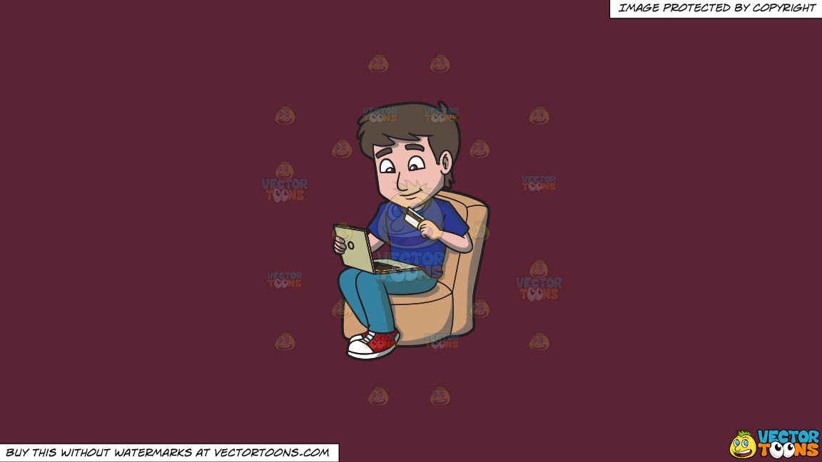 A Happy Guy Shopping Online Using His Laptop And Credit Card On A Solid Red Wine 5b2333 Background thumbnail