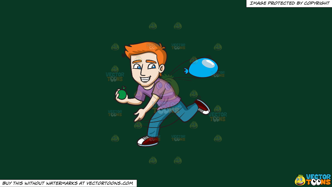 A Happy Guy Throwing Water Balloons On A Solid Dark Green 093824 Background thumbnail