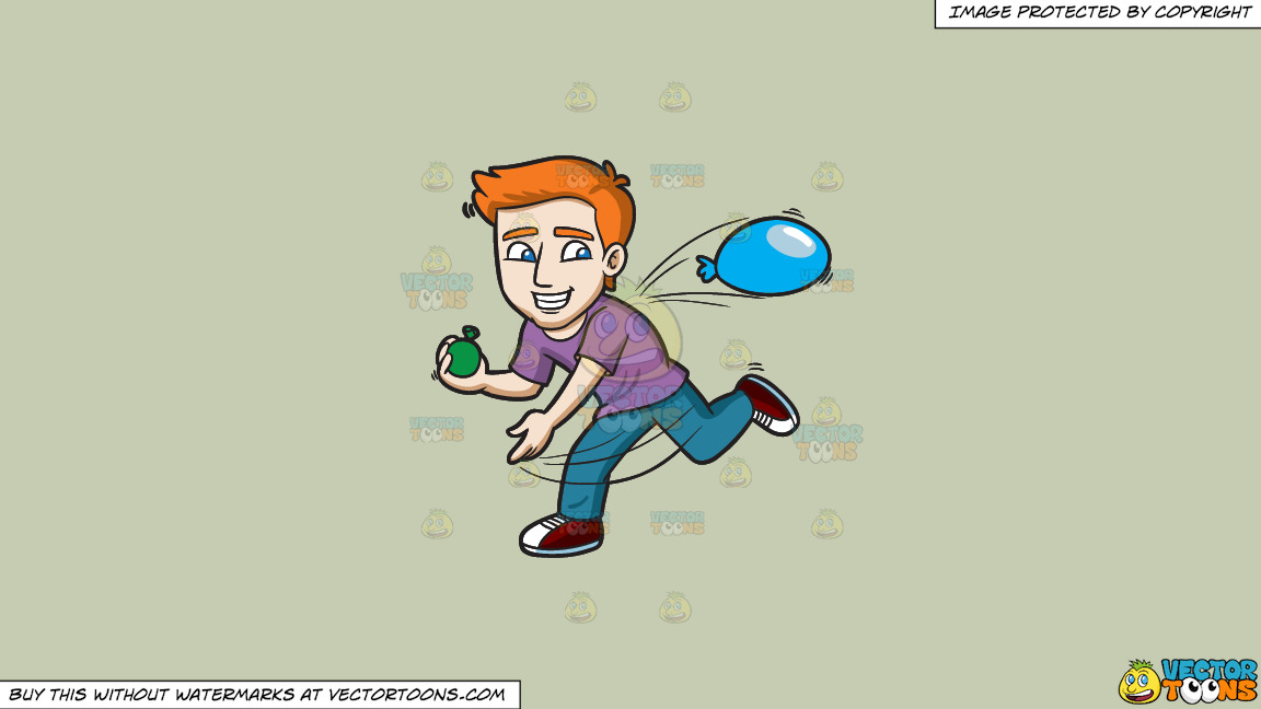 A Happy Guy Throwing Water Balloons On A Solid Pale Silver C6ccb2 Background thumbnail