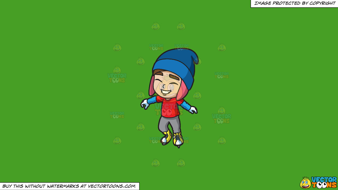 A Happy Ice Skater On A Solid Kelly Green 47a025 Background thumbnail