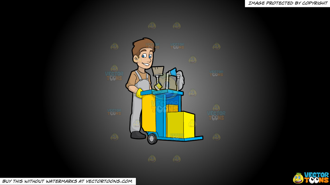 A Happy Janitor Pushing His Cart On A Grey And Black Gradient Background thumbnail