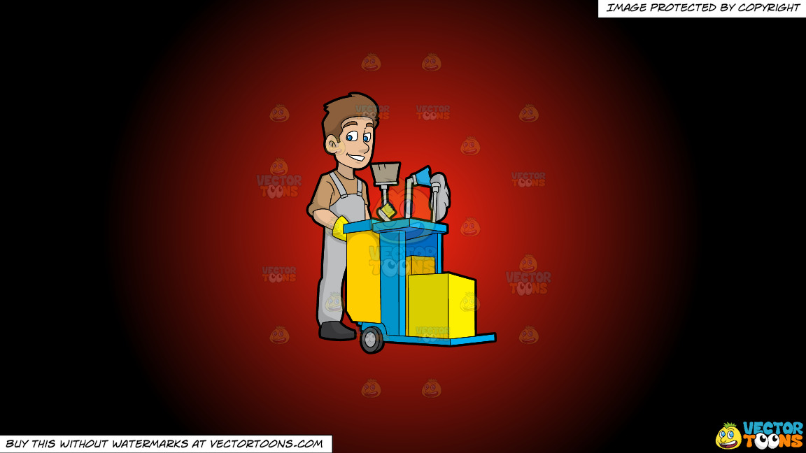 A Happy Janitor Pushing His Cart On A Red And Black Gradient Background thumbnail