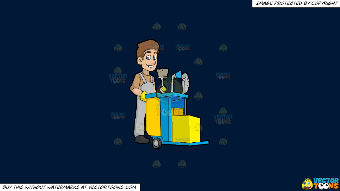 A Happy Janitor Pushing His Cart On A Solid Dark Blue 011936 Background thumbnail
