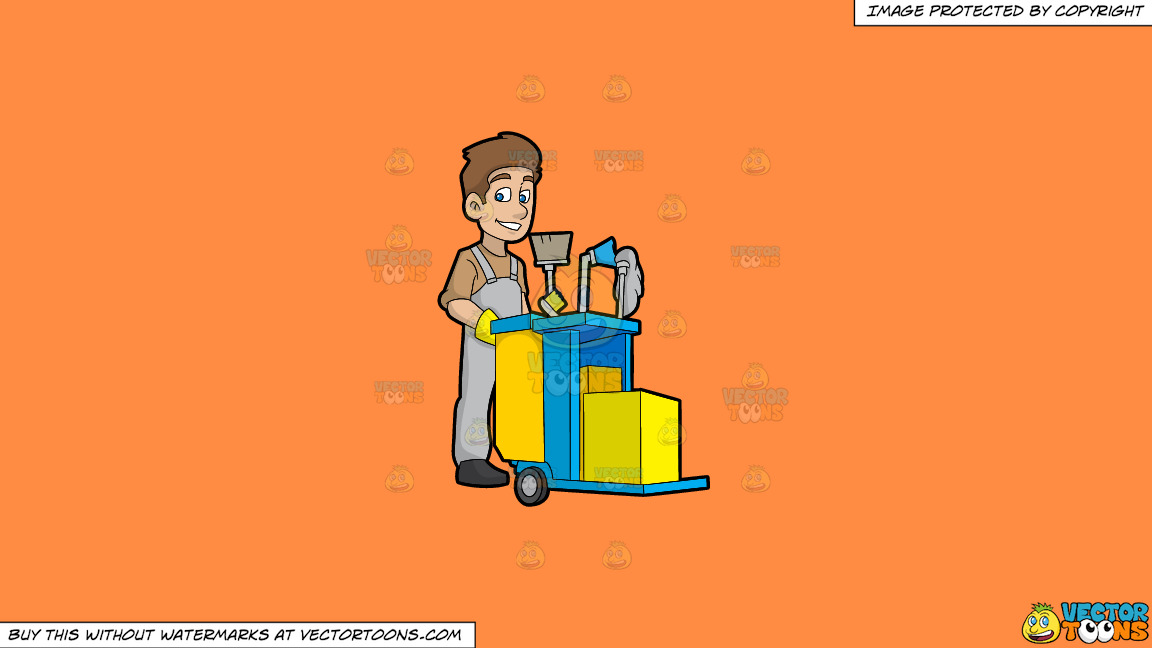 A Happy Janitor Pushing His Cart On A Solid Mango Orange Ff8c42 Background thumbnail