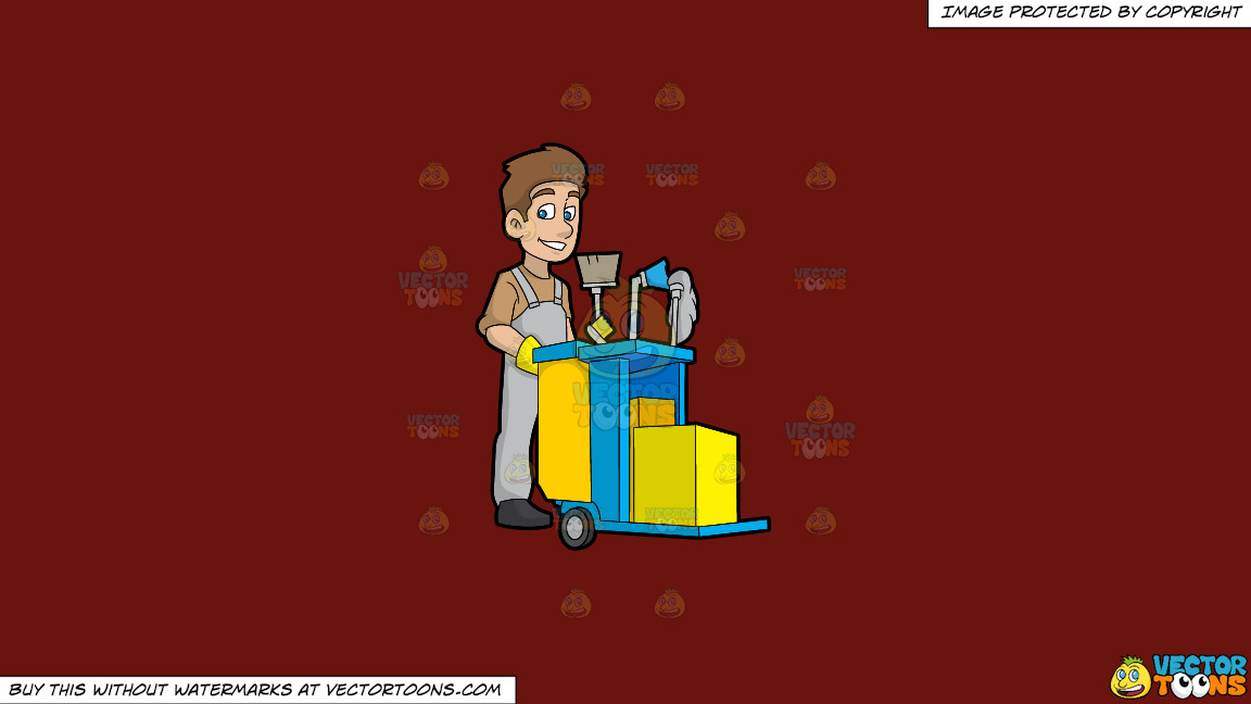 A Happy Janitor Pushing His Cart On A Solid Maroon 69140e Background thumbnail