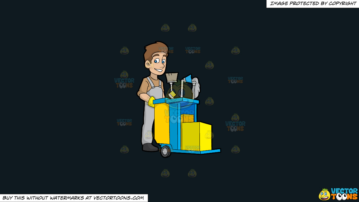 A Happy Janitor Pushing His Cart On A Solid Off Black 0f1a20 Background thumbnail