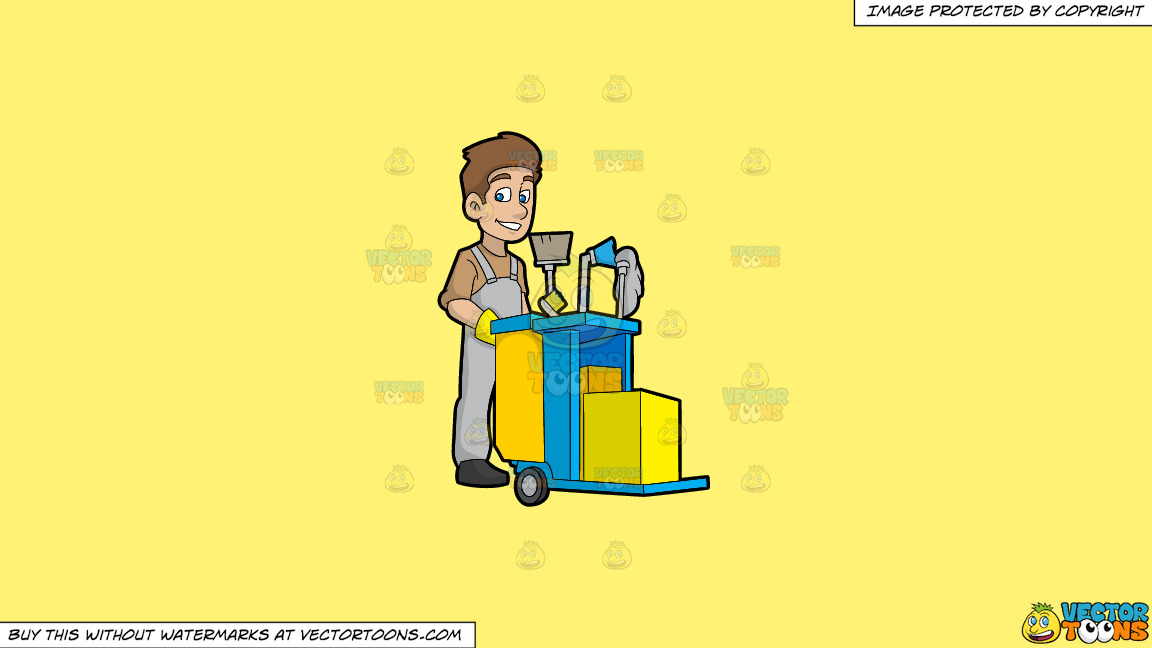 A Happy Janitor Pushing His Cart On A Solid Sunny Yellow Fff275 Background thumbnail