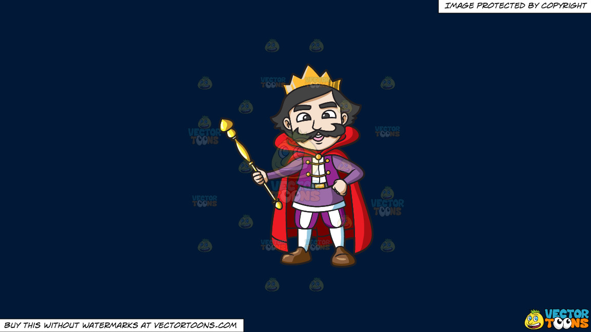 A Happy King Holding His Staff On A Solid Dark Blue 011936 Background thumbnail