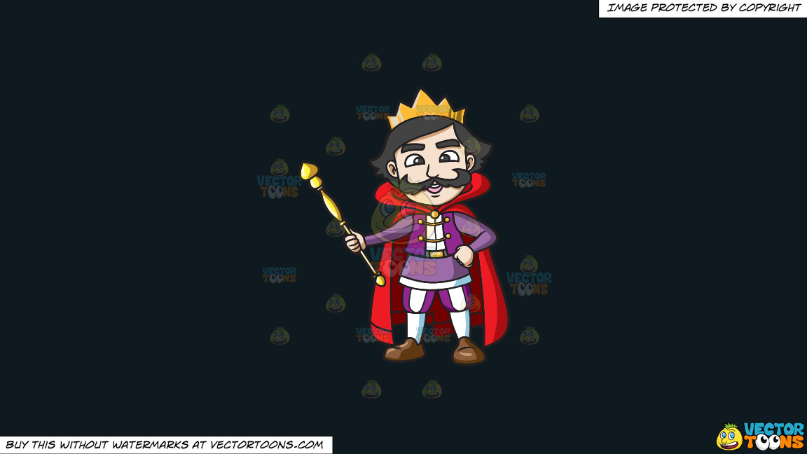 A Happy King Holding His Staff On A Solid Off Black 0f1a20 Background thumbnail