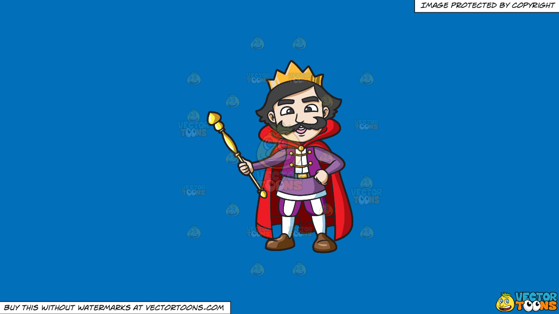 A Happy King Holding His Staff On A Solid Spanish Blue 016fb9 Background thumbnail